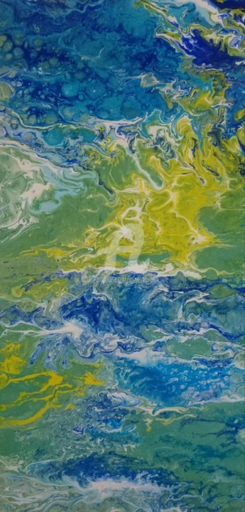 Blues and greens - 20171022 - Painting,  23.6x11.8 in, ©2017 by Gwenn Pinault -