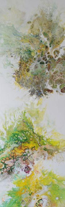 20190725 Melen - Painting,  47.2x15.8x0.6 in, ©2019 by Gwenn Pinault -                                                                                                                                                                                                                      Abstract, abstract-570, Jaune, Vert