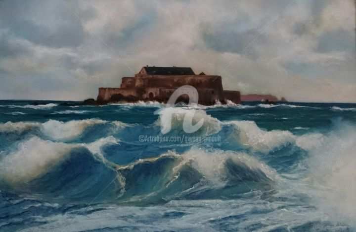 Le Fort National - Painting,  38x58 cm ©2016 by Gwenn Pinault -                                            Paper, Seascape, Forts, St-Malo, Vauban, mer, Fort National, Bretagne