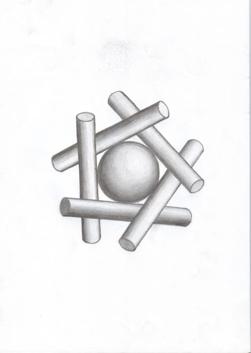 """Drawing titled """"Connection"""" by Gyocs Bela, Original Art, Pencil"""