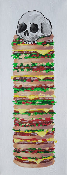 Big burger tête de mort, hamburger - Painting,  50x20x1.7 cm ©2019 by György Acs -                                                                                                                                            Figurative Art, Illustration, Pop Art, Realism, Wood, Fabric, Kitchen, Food & Drink, Spirituality, Education