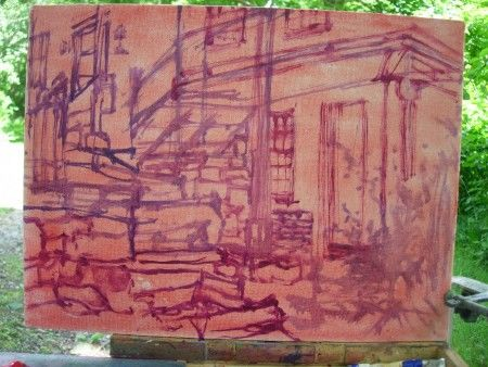 View from the Dirt Road, Rough Sketch & Composition