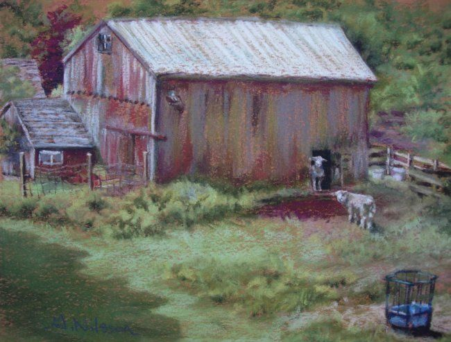 """Painting titled """"Red Barn with Sheep"""" by Gloria Nilsson, Original Art, Oil"""
