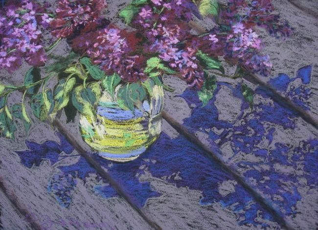 Lilacs - Painting,  11x15 in ©2008 by Gloria Nilsson -