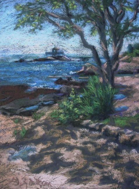 Sparkling Light and Shadow - Painting,  12x9 in, ©2008 by Gloria Nilsson -                                                                                                                                                                                                                                                                                                                                                                                                      Figurative, figurative-594, Thimble Islands, tree, land, sea, sound, ocean
