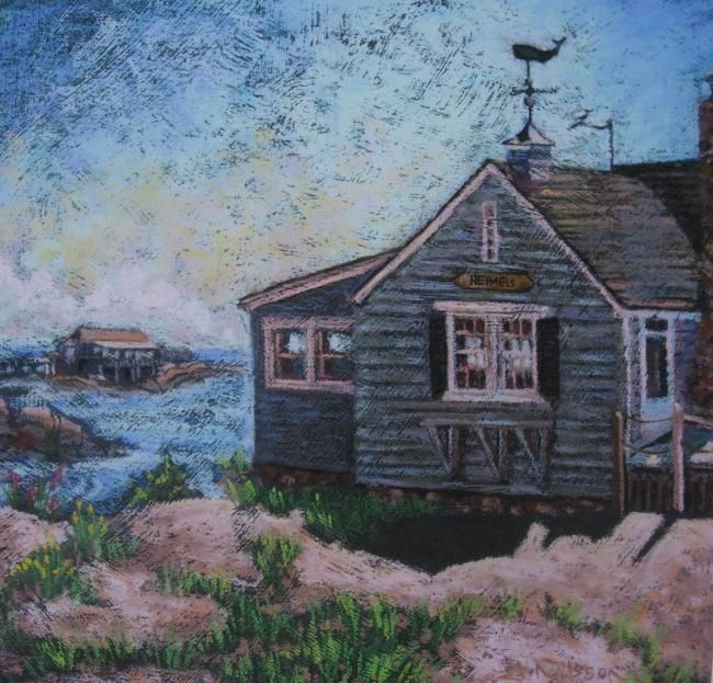 Holding on to Summer - Painting,  11x11 in ©2008 by Gloria Nilsson -            Thimble Islands, land sea, house, pastel, gloria nilsson