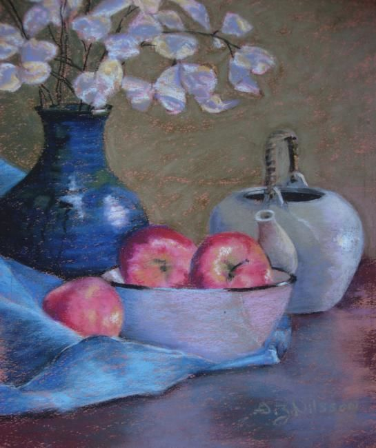 Red Apples - Painting,  13x10 in, ©2008 by Gloria Nilsson -