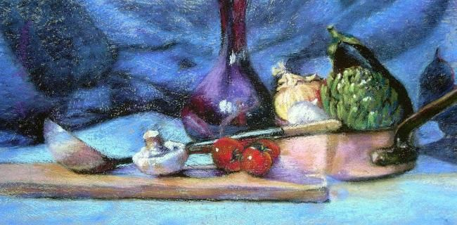 Vegetable Medley - Painting,  11x16 in, ©2008 by Gloria Nilsson -                                                                                                                                                                                                                                                                                                                                                                                                      Figurative, figurative-594, original pastel painting, Gloria Nilsson, mushrooms, tomatoes, onion, eggplant on cutting board