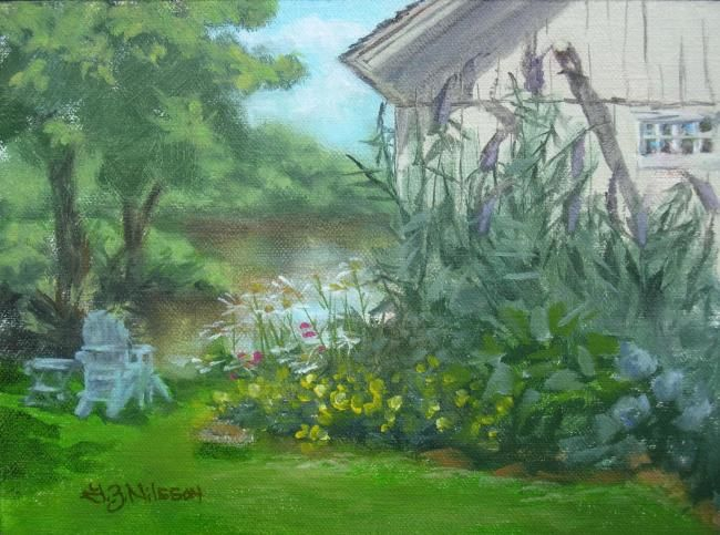 """Painting titled """"Falls River View"""" by Gloria Nilsson, Original Art, Oil"""