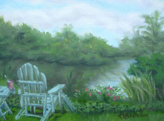 A Quiet Place - Painting,  6x8 in ©2008 by Gloria Nilsson -            falls river, trees, reflection, adirondack chair, summer, relaxing