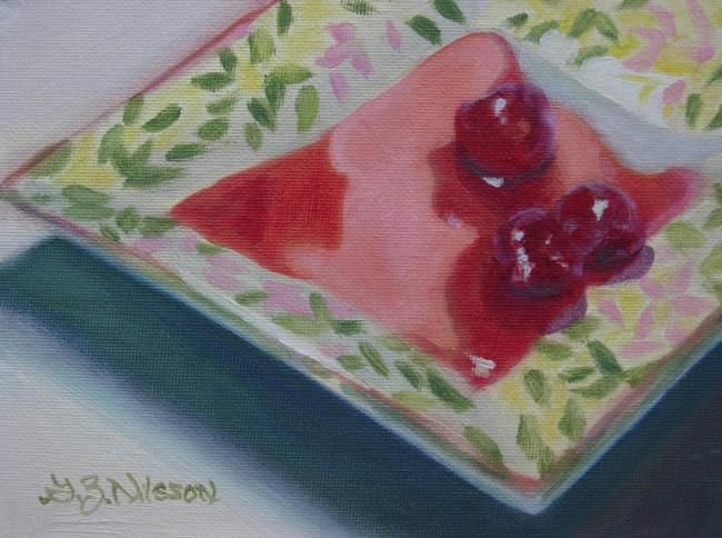 Three Cherries - Painting,  6x8 in, ©2008 by Gloria Nilsson -