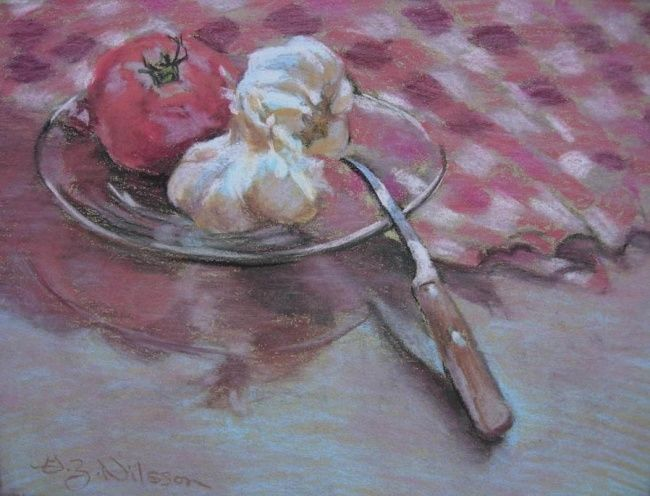 Tomatoe with Garlic - Painting,  8x10 in, ©2008 by Gloria Nilsson -