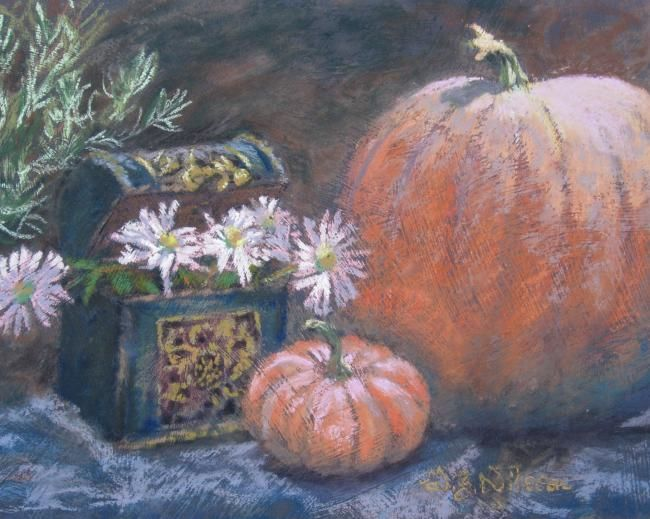 Harvest Treasures - Painting,  9x12 in, ©2008 by Gloria Nilsson -