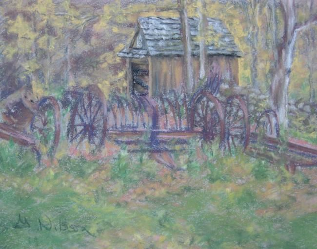 October in New England - Painting,  7x9 in ©2008 by Gloria Nilsson -