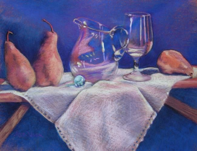 Marble, Pears, and Pitcher - Painting,  11x14 in, ©2008 by Gloria Nilsson -