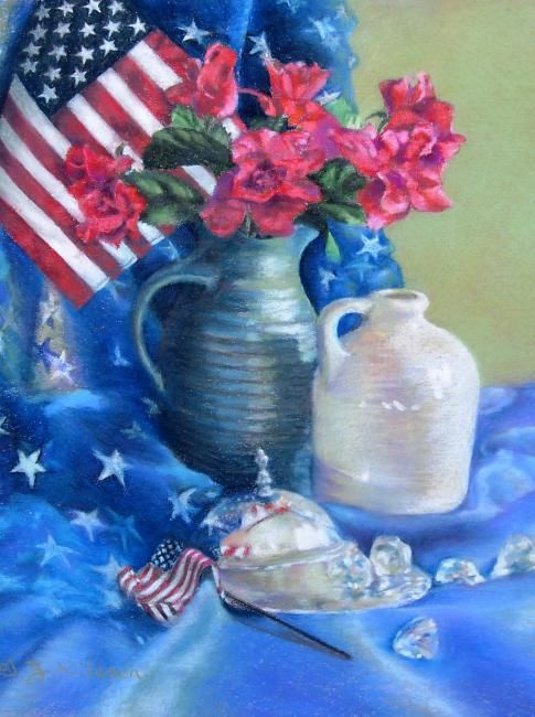 Stars and Stripes - Painting,  14x11 in, ©2008 by Gloria Nilsson -