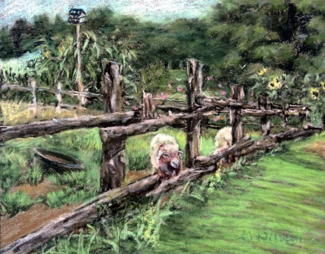 """Painting titled """"Fence Post Crossing"""" by Gloria Nilsson, Original Art, Oil"""