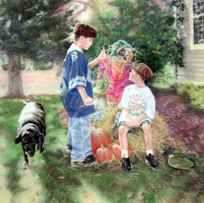 Scarecrow Stuff - Painting,  17x16 in ©2008 by Gloria Nilsson -            children, dog, labrador retriever, scarecrow, autumn, fall, pumpkins, dallas cowboys, new york yankees