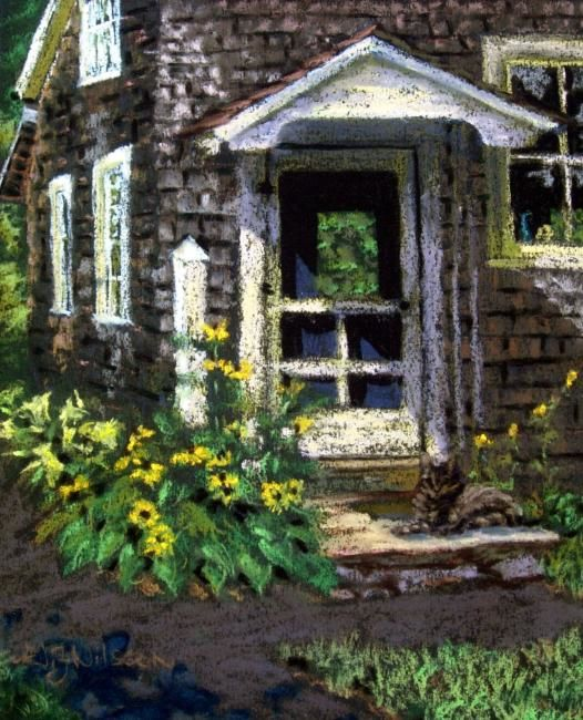 A Purrfect Day - Painting,  10x8 in ©2008 by Gloria Nilsson -                            Figurative Art, Old Lyme Connecticut, cat, doorstep, new england, country, woodshakes, colonial