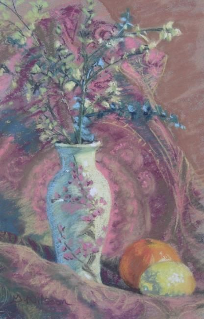 Vase with Eucalyptus and Citrus - Painting,  9x7 in, ©2008 by Gloria Nilsson -