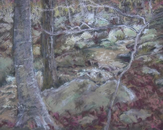 Edge of the Brook - Painting,  7x9 in ©2008 by Gloria Nilsson -                            Figurative Art, brook, rocks, autumn, new england, trees
