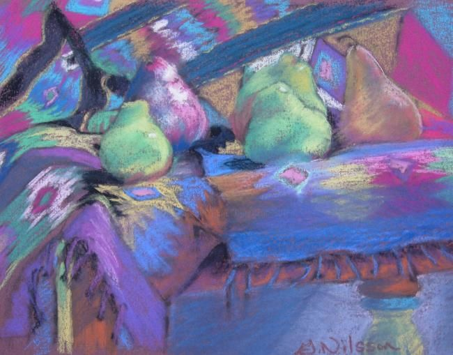 Southwest Pears - Painting,  7x9 in, ©2008 by Gloria Nilsson -                                                                                                                                                      southwest, original pastel painting, gloria nilsson