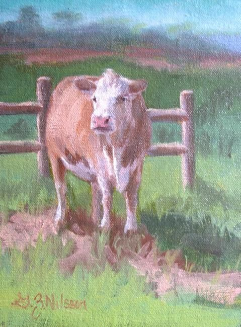 """Painting titled """"Cow in Pasture"""" by Gloria Nilsson, Original Art, Oil"""