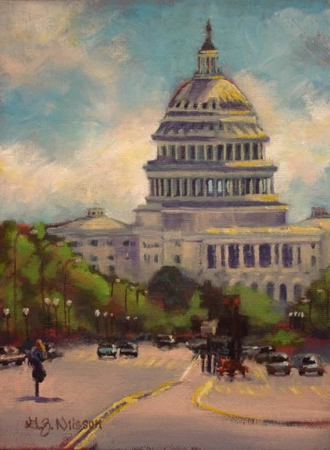 U.S. Capital Building - Painting,  8x6 in ©2008 by Gloria Nilsson -