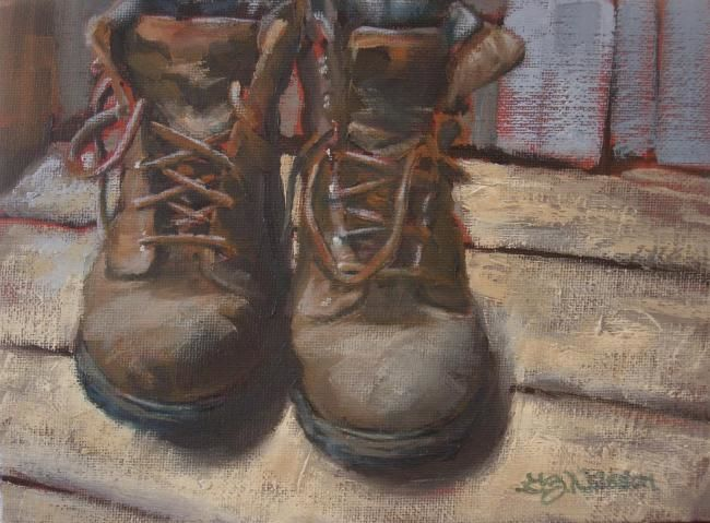Tired Boots - Painting,  6x8 in, ©2008 by Gloria Nilsson -