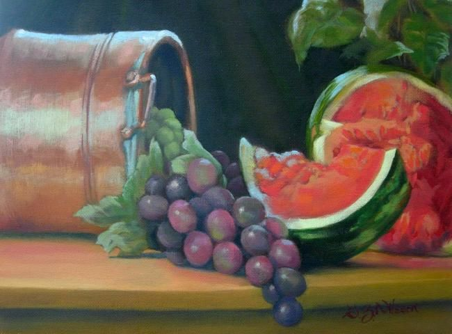 """Painting titled """"Watermelon and Grap…"""" by Gloria Nilsson, Original Art, Oil"""