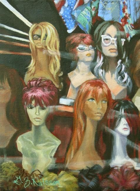 Multiple Personalities - Painting,  8x6 in ©2009 by Gloria Nilsson -            wigs, manequin, animated, oil painting, hair, colorful