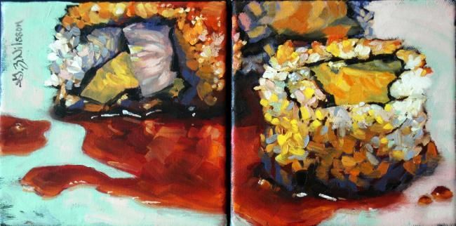 Sushi Yin-Yang (Diptych) - Painting,  6x12 in, ©2009 by Gloria Nilsson -                                                                                                                                                                                                                                                                                                                                                                                                      Figurative, figurative-594, sushi, Japanese, diptych, contemporary, oil painting, foodie