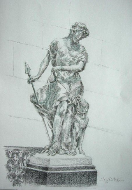 Figure with Hound - Painting,  12x9 in, ©2009 by Gloria Nilsson -                                                                                                          Rendering of marble sculpture of companion of Diana, Goddess of the moon and of the hunt. Different Strokes from Different Folks challenge.