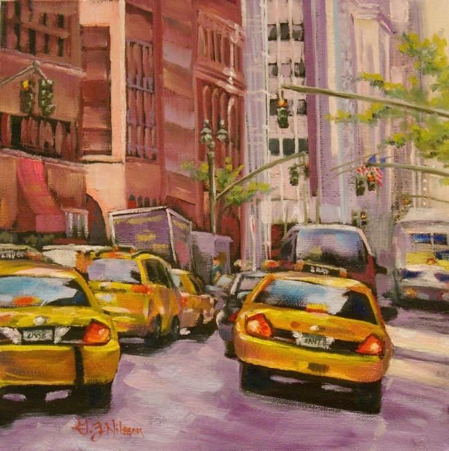 """Painting titled """"Taxi! Taxi!"""" by Gloria Nilsson, Original Art, Oil"""