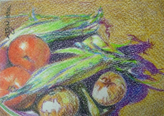 Homegrown - Painting,  4x6 in ©2009 by Gloria Nilsson -            original fine art, still life, vegetables, colored pencil