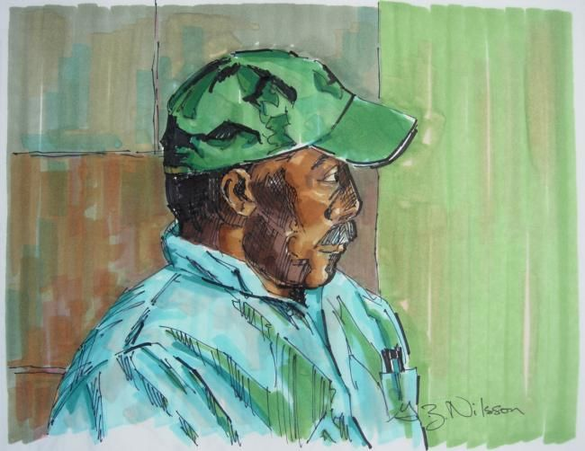 Man with Green Cap - Painting,  8x10 in ©2009 by Gloria Nilsson -                            Portraiture, man, baseball cap, portrait, Marker, sketch, gloria nilsson