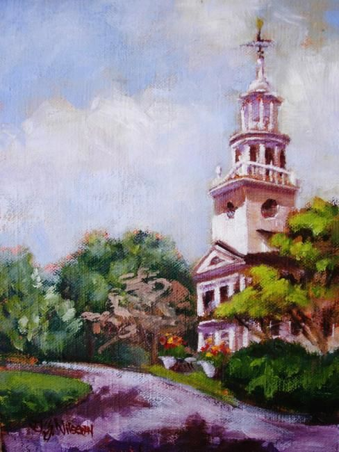 Congregational Church - Painting,  8x6 in ©2009 by Gloria Nilsson -                            Figurative Art, church, steeple, Killingworth Connecticut, country fair, original oil painting, gloria nilsson
