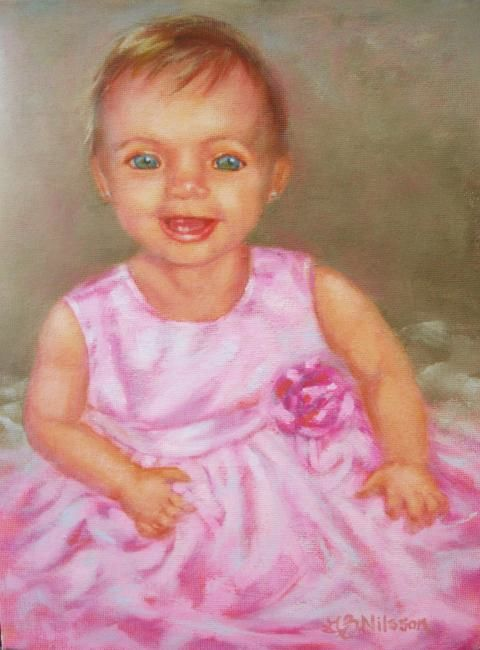 Little Angel - Painting,  12x9 in ©2009 by Gloria Nilsson -            portrait, realizm, baby, children, original oil painting, gloria nilsson