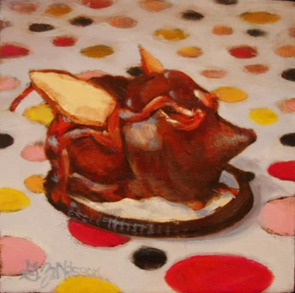 Cocoa Critter - Painting,  6x6 in ©2010 by Gloria Nilsson -                            Contemporary painting, chocolate, candy, mouse, oreo, valentine, original oil painting, gloria nilsson