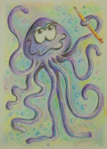Ossie - Painting,  3.5x2.5 in ©2010 by Gloria Nilsson -            Octopus with its eight arms & holding a pencil, artist trading card