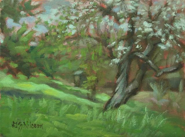 Spring Sonant, Bauer Farm - Painting,  8x6 in ©2011 by Gloria Nilsson -                            Figurative Art, original landscape oil painting, Bauer Farm, Madison, Connecticut, Gloria Nilsson, dogwood tree, spring blossoms