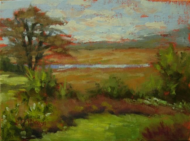 Marsh View, Lords Creek, Lyme, Connecticut - Painting,  6x8 in, ©2011 by Gloria Nilsson -                                                                                                                                                                                                                                                                                                                                                                                                                                                  Figurative, figurative-594, lords creek, lyme connecticut, horse trail, marsh, landscape, original oil painting, gloria nilsson