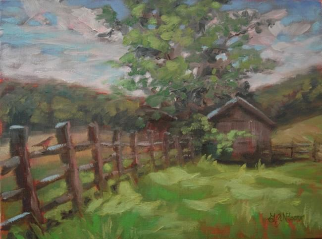 Converging Landscape - Painting,  9x12 in, ©2011 by Gloria Nilsson -                                                                                                                                                                                                                                                                                                                                                                                                                                                                                                                                          Figurative, figurative-594, middletown, connecticut, barn, pasture, original oil painting, gloria nilsson, converging lines, landscape, fence post