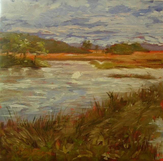 Mid-Day, Lyme, Connecticut - Painting,  10x10 in, ©2011 by Gloria Nilsson -                                                                                                                                                                                                                                                                                                                                                          Figurative, figurative-594, connecticut landscape, marsh, swans, original oil painting, gloria nilsson