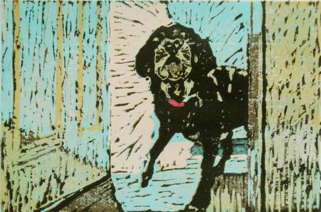 Facing the Unknown - Printmaking,  6x9 in, ©2012 by Gloria Nilsson -                                                                                                                                                                                                                                                                                                                                                                                                                                                                                                                                                                                                              black lab, canine, pet, dog, guardian, , protector, dog barking, linoleum block print, limited edition, linocut, gloria nilsson, connecticut artist