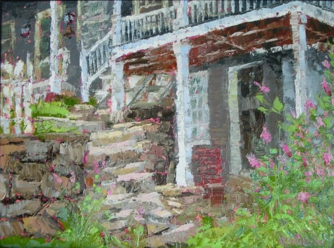 View from the Dirt Road - Painting,  12x16 in ©2012 by Gloria Nilsson -                            Figurative Art, medad stone tavern, guilford, connecticut, porch, deck, architecture, oil painting, impressionistic, palette knife, gloria nilsson