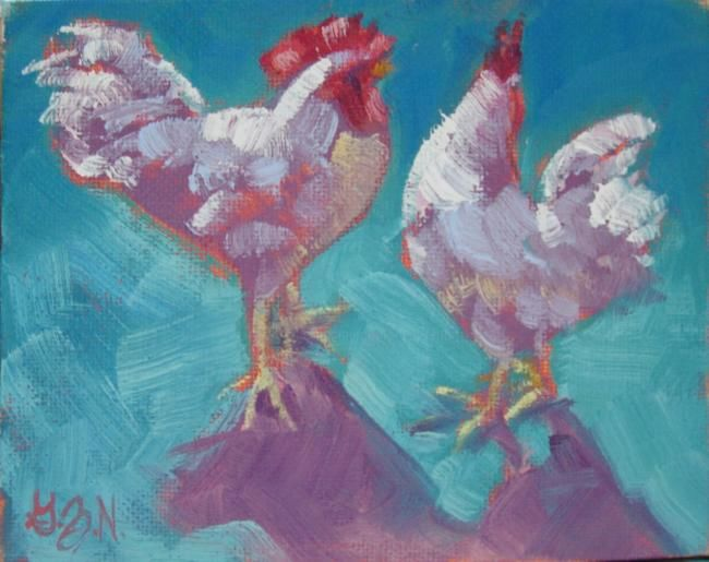 Stop Following Me - Painting,  4x5 in ©2012 by Gloria Nilsson -            Roosters, farm animals, birds, chickens, original oil painting, gloria nilsson