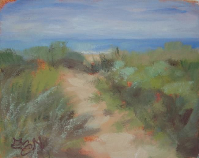 A Different Path - Painting,  4x5 in, ©2012 by Gloria Nilsson -                                                                                                                                                                                                                                                                                                                                                                                  beach, path, trail, walking path, Hammonasset, state park, original oil painting, gloria nilsson