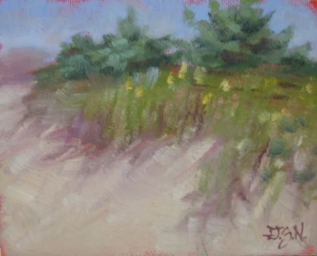 Dunes at Hammonasset - Painting,  4x5 in ©2012 by Gloria Nilsson -            painting of beach dunes and trees at hammonasset state park, madison, connecticut