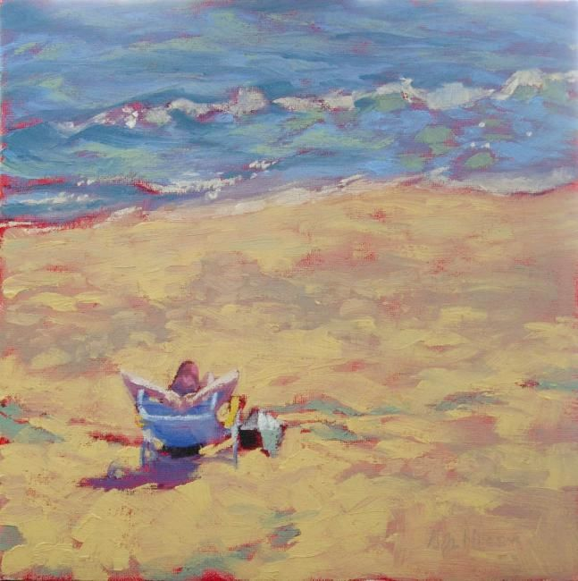 Quarantide - Painting,  12x12 in, ©2013 by Gloria Nilsson -                                                                                                                                                                                                                          Figurative, figurative-594, Beach, painting of a person  wearing a baseball cap sitting in a chair on the beach watching the waves